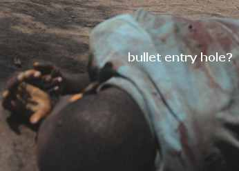 A victim in the DRC - the entry bullet hole suggests he could have been shot in the back