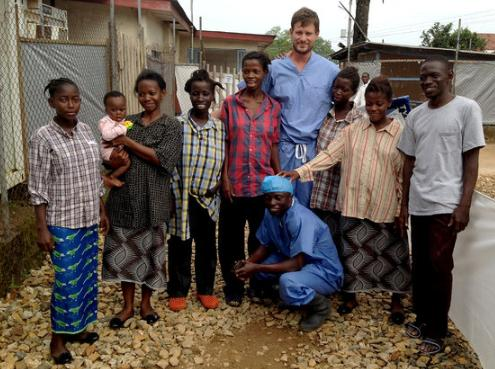 Dr Crozier with some real survivors of the Ebola Virus Disease infection.