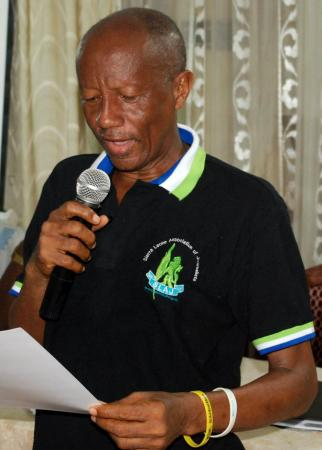 The late journalist Samuel John at a function for journalists in Sierra Leone. RIP