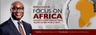 Komla Dumor on a poster announcing the launch of the programme