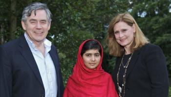 Former UK Prime Minister Gordon Brown and spouse with Malala