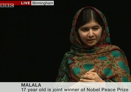 Malala at today's LIVE press conference in the UK.