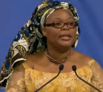 Nobel Peace Prize Winner Leymah Roberta Gbowee delivering her lecture in Oslo on December 10, 2011.