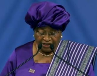Liberian President Mrs Ellen Johnson-Sirleaf giving her lecture in Oslo on December 10, 2011.