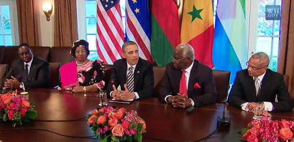 US President Obama singing praises in honour of the four African leaders he invited to the United States. What he said of President Koroma in the area of good governance means he got his notes all mixed up.