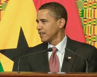 President Obama addresses the Ghanaian Parliament in July 2009.