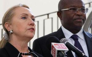 President Macky Sall welcomes US Secretary of State Hillary Rodham Clinton in Senegal