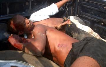 SLPP victim after police and APC party attacks on their headquarters. These victims were later taken for detention at Pademba Road. 22 were charged to court.