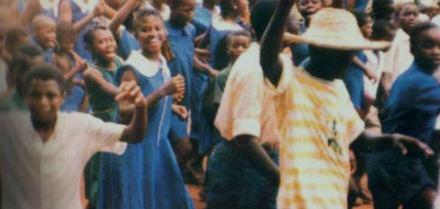 Children in celebratory mood join the rest of the country on the kicking out of the repressive regime of the APC