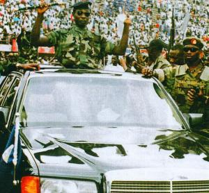 New Head of State Captain Valentine Strasser rides in triumph after successful April 29, 1992 coup.