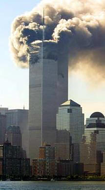 One of the twin towers on fire on September 11, 2001.