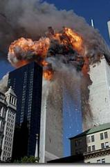 The iconic twin towers in flames