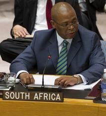 South Africa's UN Security Council Ambassador Baso Sangqu delivers his report on the May 23rd visit to Freetown