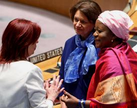 Sierra Leone very own Zainab Hawa Bangura in conversation with other participants. Photo: UN Media